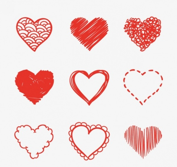 Heart Shaped Sketches Set
