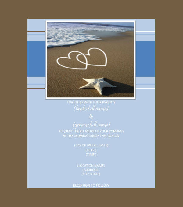 Hearts on the Beach Wedding Invitation