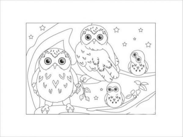 Highly Customized Owl Coloring Page