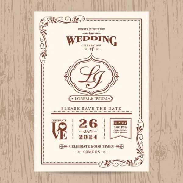 Highly Editable Vintage Wedding Invite