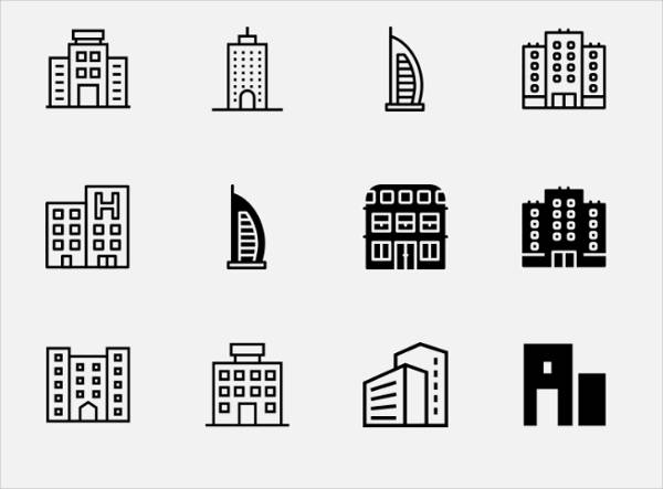 Hotel Building Icons