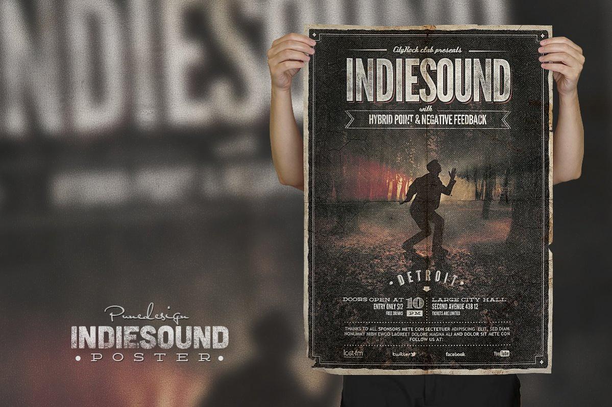 indie sound vintage poster design