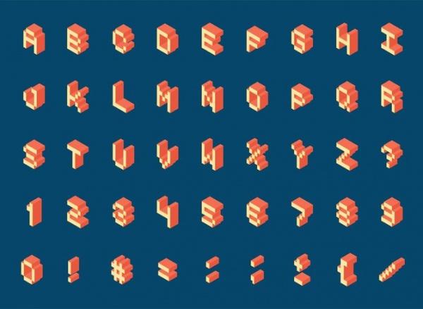 Isometric Pixel Alphabet Letters