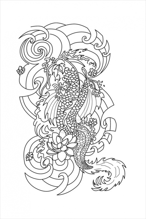 Japanese tattoo Coloring Page Adults