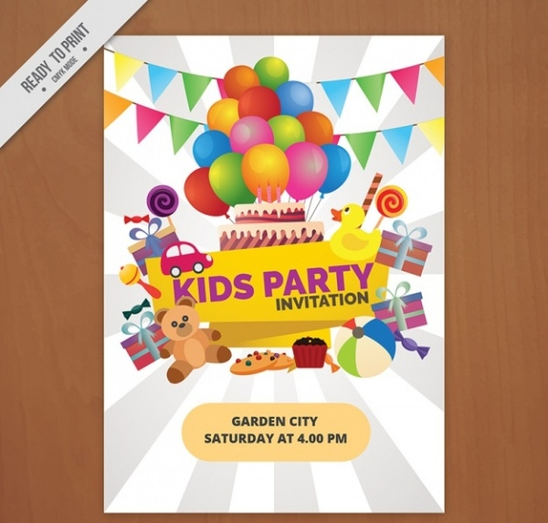 Kids Party Invitation With Balloons