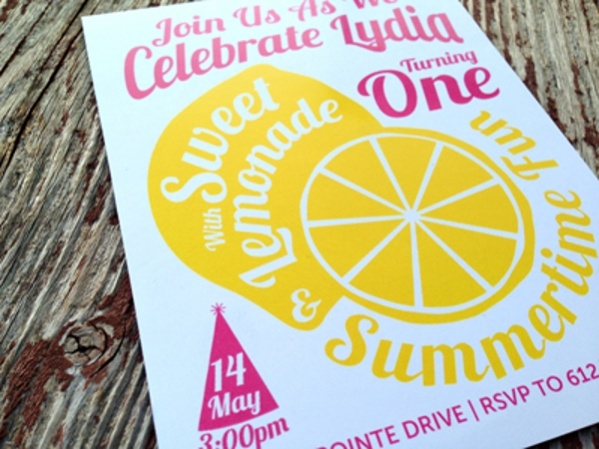 Lemonade Graphic Birthday Invitation