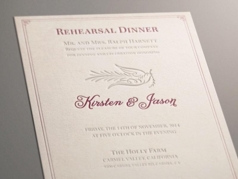 Letterpress Rehearsal Dinner Invitation