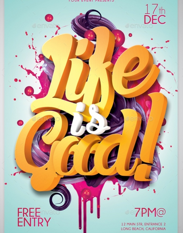 Life Is Good 3D Typography