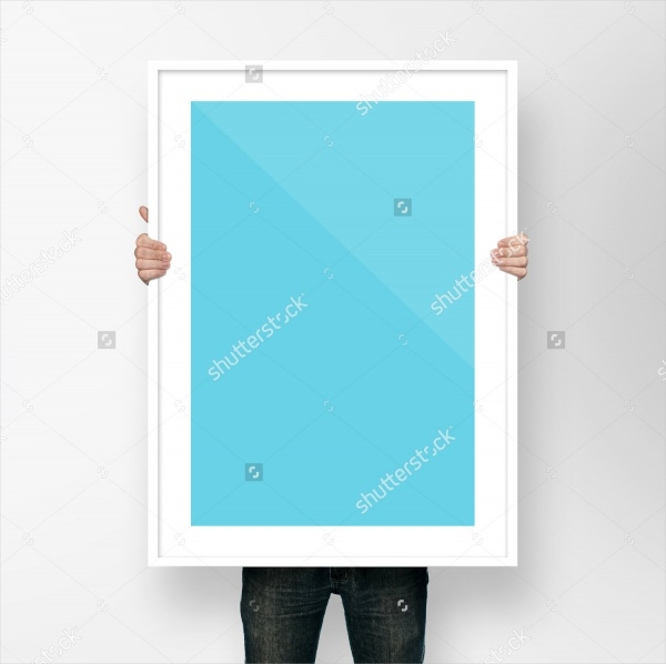 man holding poster frame mock up