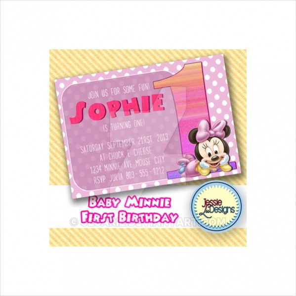 Minnie Mouse Homemade Invitation