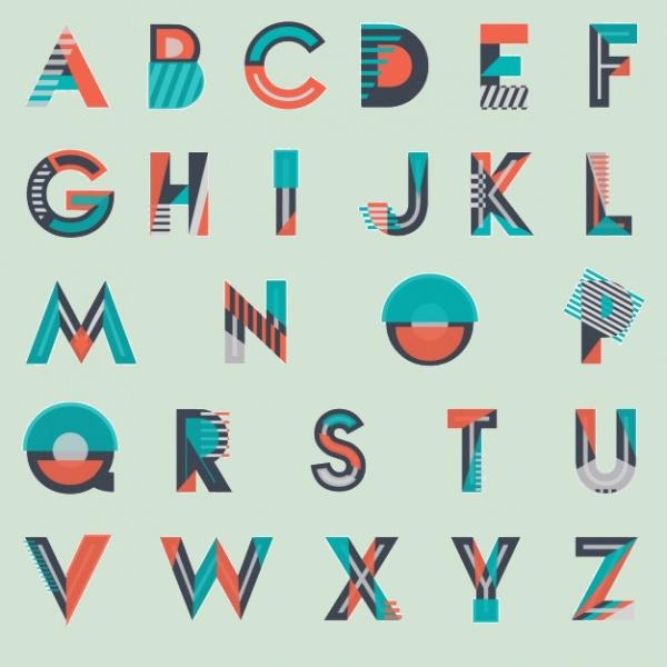 Modern Geometrical Alphabet Letters