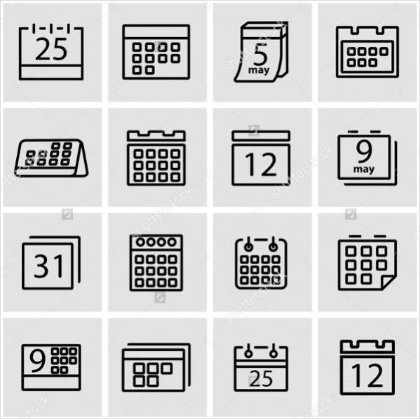 Modern Vector Calendar Icon Set