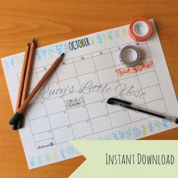 Monthly School Planner Calendar