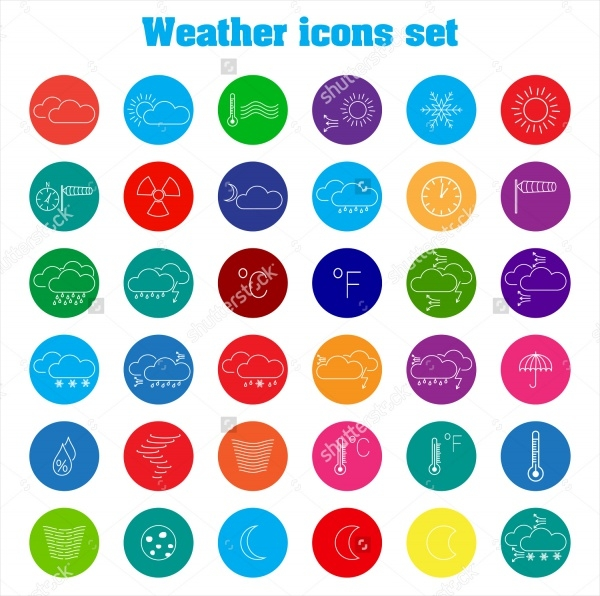 Multicolored Round Weather Icons