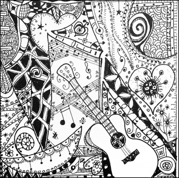 Music Coloring Page Adults