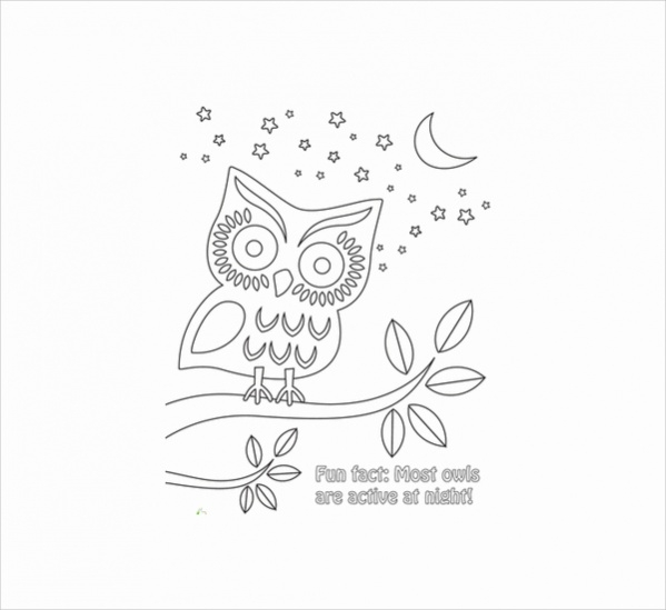Nighttime Owl Coloring Page