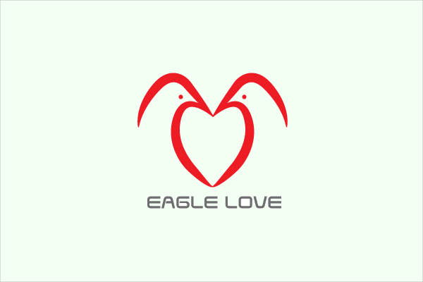 Outline Eagle Love Logo