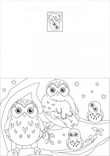Owl Coloring card Page