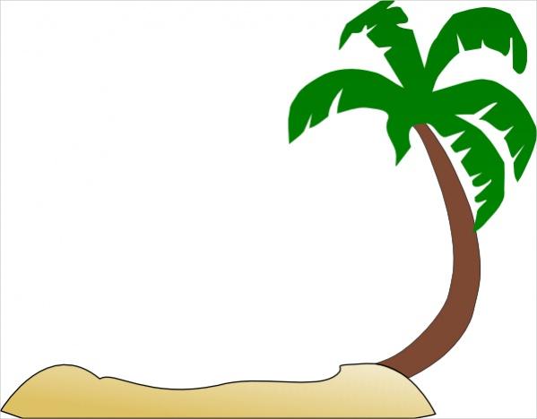 Palm Tree Beach Clip Art