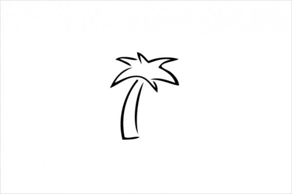 Palm Tree Outline Clip Art