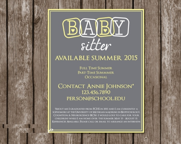 Personalised Babysitting Flyer Design