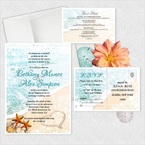 Personalized Beach Wedding Invitation