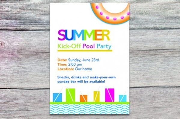 Personalized Pool Party Invitation