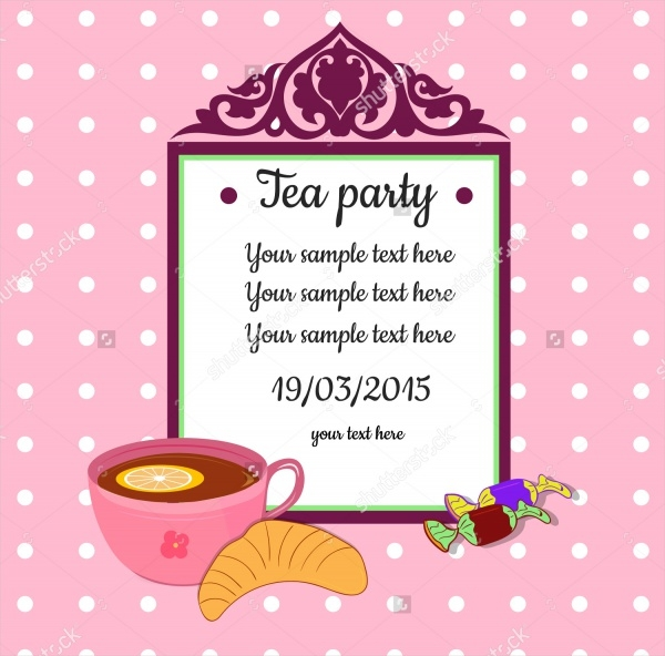 Pink Colored Tea Party Invitation