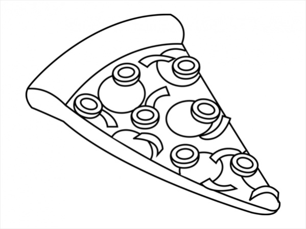 Pizza Black And White Clipart