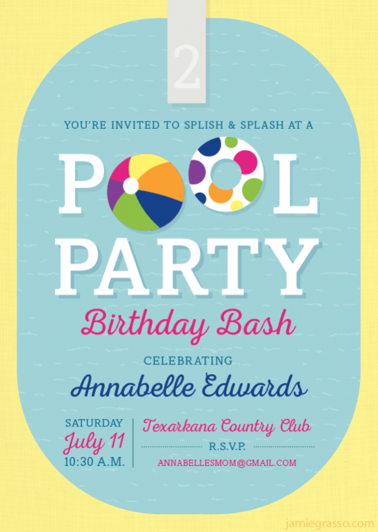 Pool Party Birthday Invitation