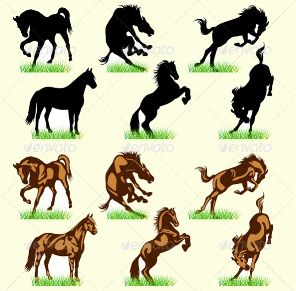Portfolio Horses Silhouettes Set