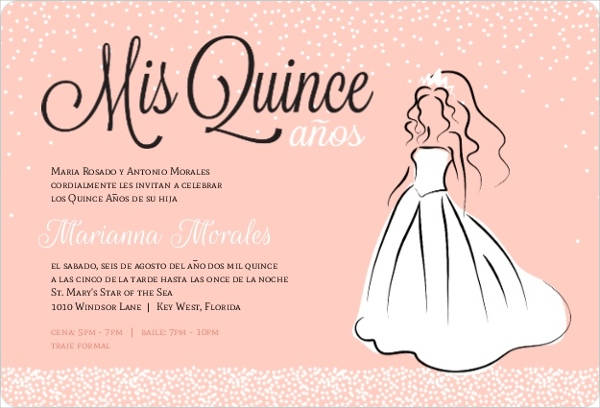 Princess Dress Quinceanera Invitation