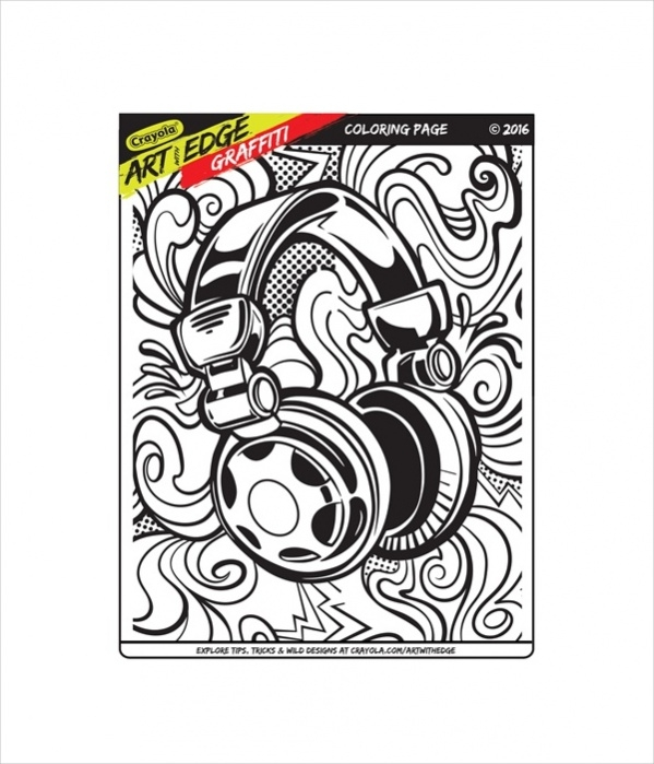 Printable Adult Graffitti Coloring Page
