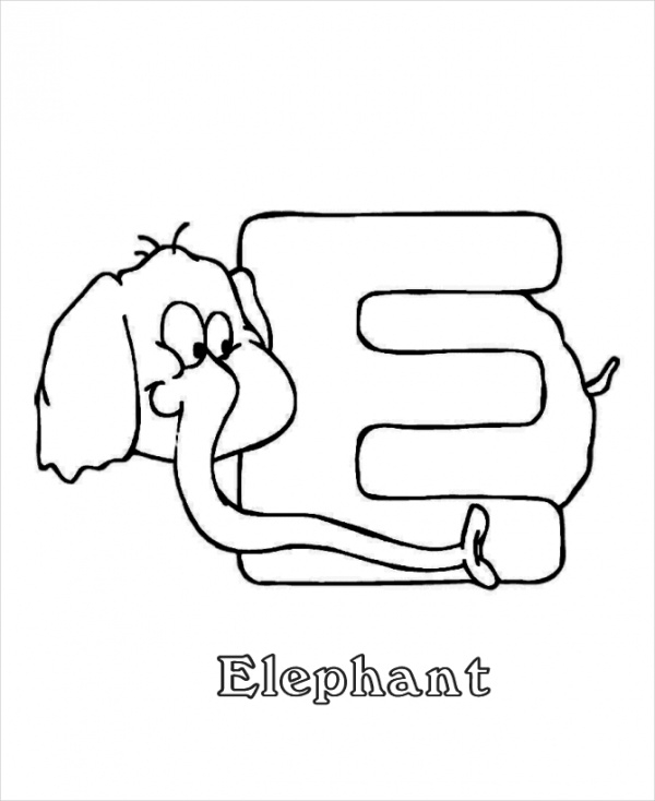 Printable Alphabet Elephant Coloring Page
