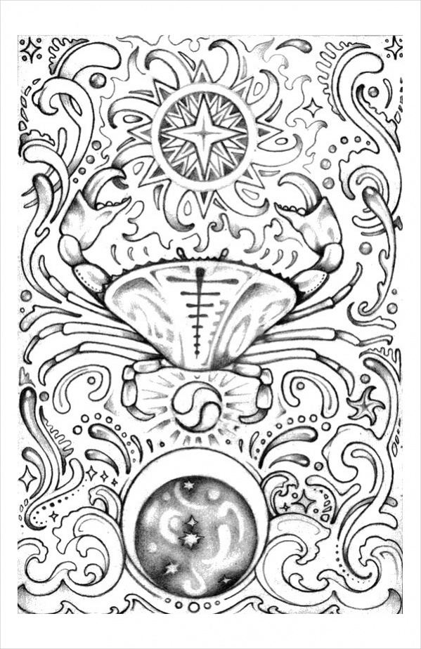 Printable Astrology Coloring Page for Adults