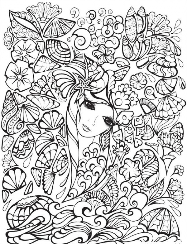 Printable Fancy Coloring Page for Adults