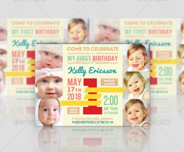 Printable First Birthday Invitation