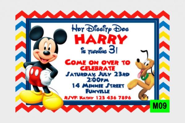 Printable Mickey Mouse Birthday Invitation