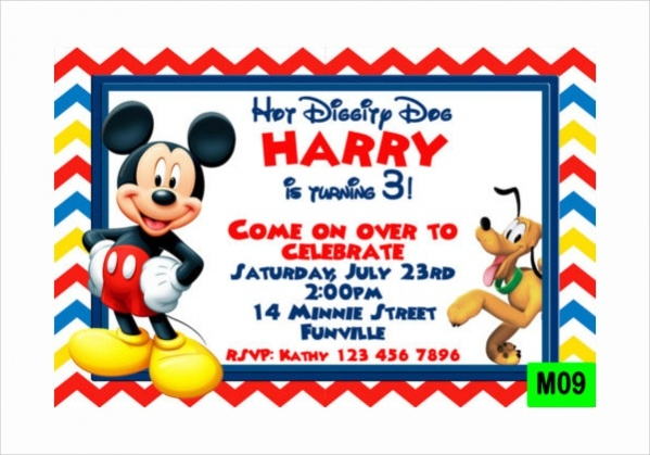 13 Mickey Mouse Invitation PSD Vector EPS AI Illustrator Download – Mickey Mouse Invitation Template