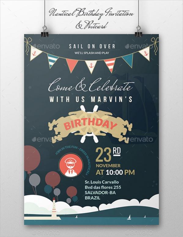 Printable Nautical Birthday Invitation