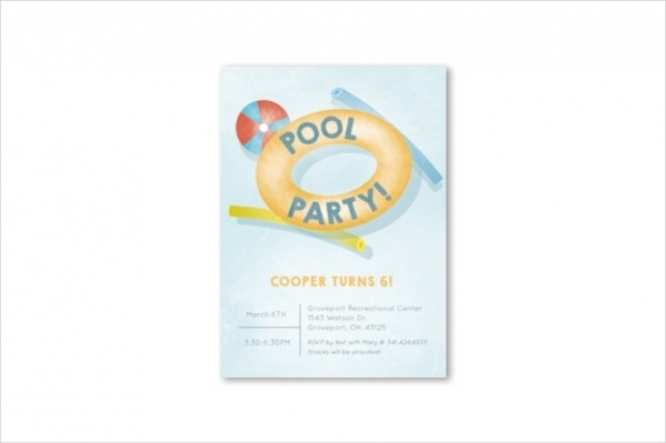 Printable Pool Party Invitation