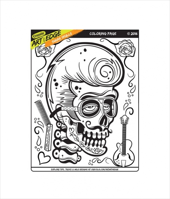 Printable Sugar Skulls Coloring Page for Adults