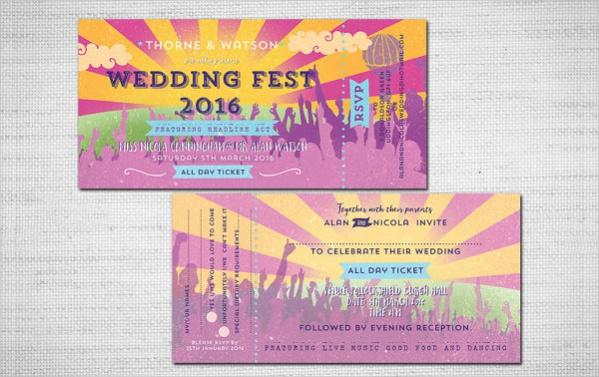 Printable Wedding Festival Ticket