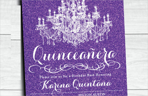 Quinceanera Purple Glitter Invitation