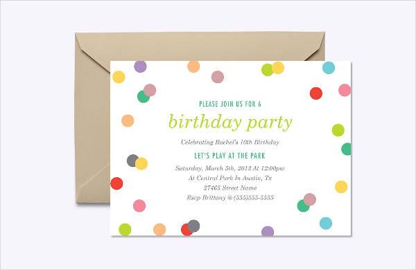 Rainow Confetti Birthday Party Invitation