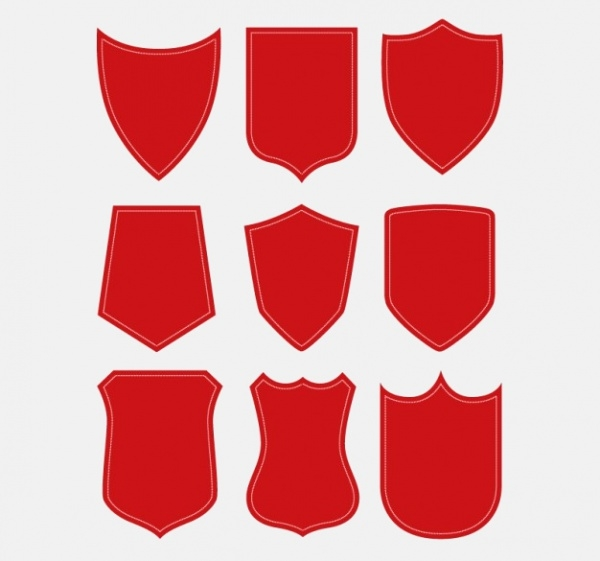 Red Shield Shapes