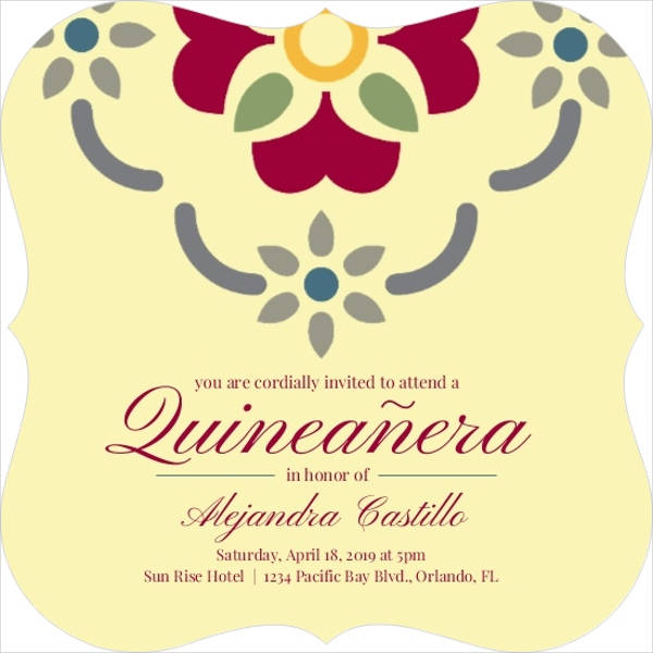 Red Spanish Quinceanera Invitation
