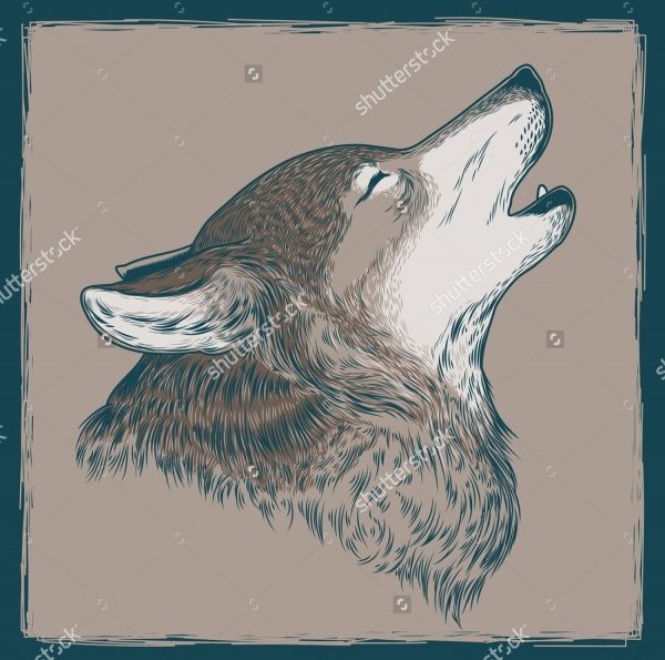 retro howling wolf drawing