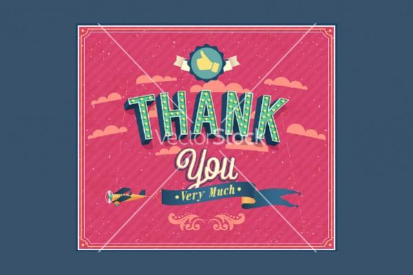 Retro Thank You Typographic Vector