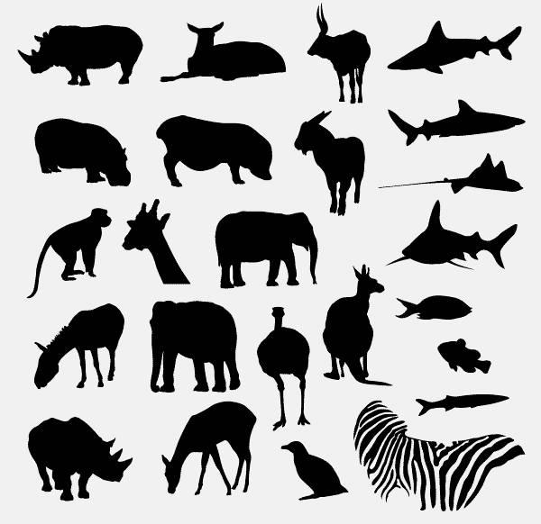 Safari and Zoo Animals silhouettes
